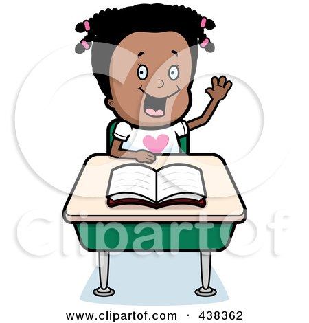 Royalty-Free (RF) Clipart Illustration of a Black Girl Raising Her Hand At Her Desk by Cory Thoman