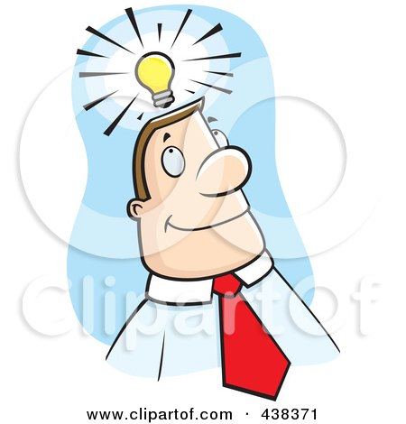 Royalty-Free (RF) Clipart Illustration of a Businessman With An Idea Over Blue by Cory Thoman