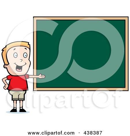 Royalty-Free (RF) Clipart Illustration of a Blond Boy Presenting A Chalk Board by Cory Thoman