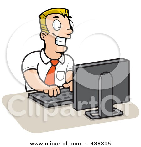 Royalty-Free (RF) Clipart Illustration of a Businessman Working On A Computer by Cory Thoman