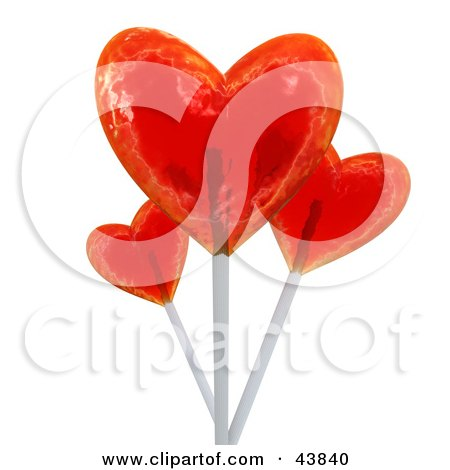 Clipart Illustration of 3d Red Heart Shaped Suckers by Frank Boston
