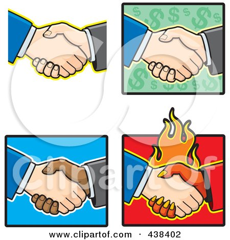 Royalty-Free (RF) Clipart Illustration of a Digital Collage Of Hand Shakes by Cory Thoman