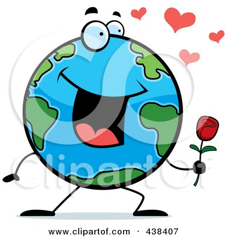 Royalty-Free (RF) Clipart Illustration of a Romantic Globe Holding A Single Rose by Cory Thoman