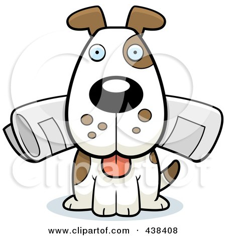 Royalty-Free (RF) Clipart Illustration of a Dog Sitting With The Newspaper In His Mouth by Cory Thoman