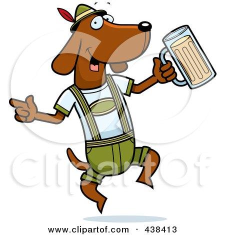 Royalty-Free (RF) Clipart Illustration of a German Oktoberfest Wiener Dog by Cory Thoman