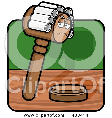 Royalty-Free (RF) Clipart Illustration of a Gavel Character Wearing A Wig by Cory Thoman