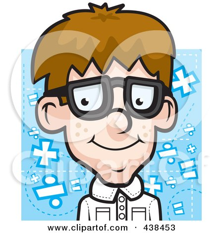 Royalty-Free (RF) Clipart Illustration of a Nerdy Boy Over Blue by Cory Thoman