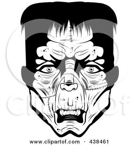 Royalty-Free (RF) Clipart Illustration of a Black And White Frankenstein Head by Cory Thoman