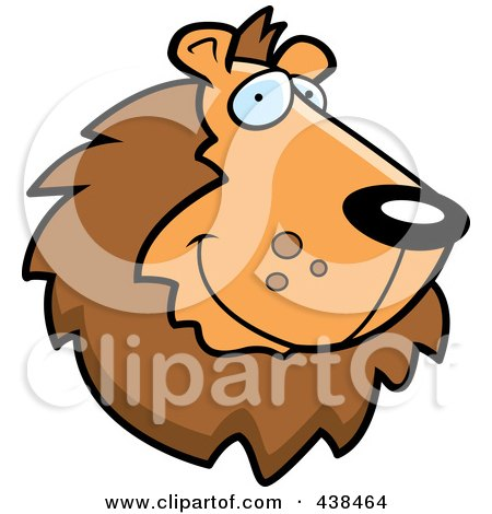 Royalty-Free (RF) Clipart Illustration of a Handsome Lion Face by Cory Thoman
