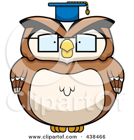 Royalty-Free (RF) Clipart Illustration of a Chubby Owl Professor by Cory Thoman