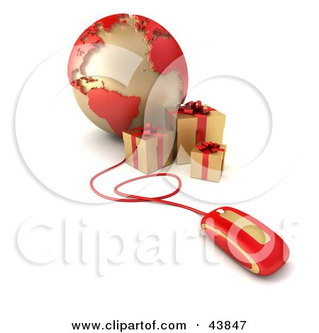 Clipart Illustration of a Computer Mouse Connected To A Globe Featuring The Atlantic, With Gold Presents by Frank Boston