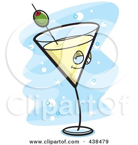 Royalty-Free (RF) Clipart Illustration of a Yellow Martini Character Over Blue by Cory Thoman