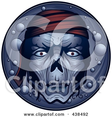 Royalty-Free (RF) Clipart Illustration of a Dead Pirate Face Over A Circle by Cory Thoman