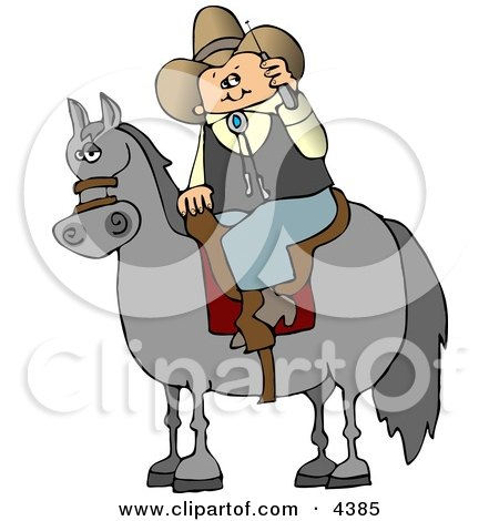 Cowboy Sitting On a Saddled Horse While Talking On a Cellphone Clipart by djart