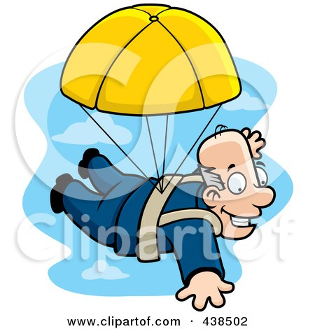 Royalty-Free (RF) Clipart Illustration of a Happy Man Parachuting by Cory Thoman