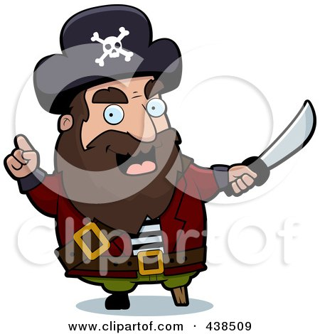 Royalty-Free (RF) Clipart Illustration of a Pirate Warning With A Sword by Cory Thoman