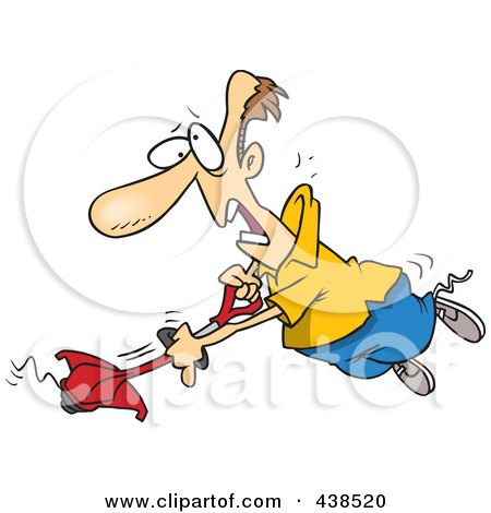 Royalty-Free (RF) Clip Art Illustration of a Cartoon Man Losing Control Of A Weed Wacker by toonaday