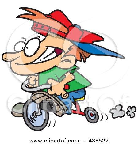Royalty-Free (RF) Clip Art Illustration of a Cartoon Boy Riding His Trike by toonaday