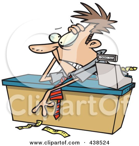 Royalty-Free (RF) Clip Art Illustration of an Exhausted Cartoon Businessman Leaning Over A Counter by toonaday