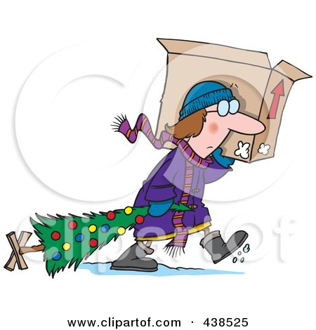 Royalty-Free (RF) Clip Art Illustration of a Cartoon Woman Carrying A Moving Box And Dragging Her Christmas Tree by toonaday