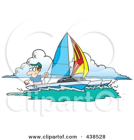 Royalty-Free (RF) Clip Art Illustration of a Cartoon Man Sailing A Trimaran by toonaday