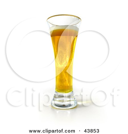 Clipart Illustration of a 3d Tall Golden Glass Of Beer by Frank Boston