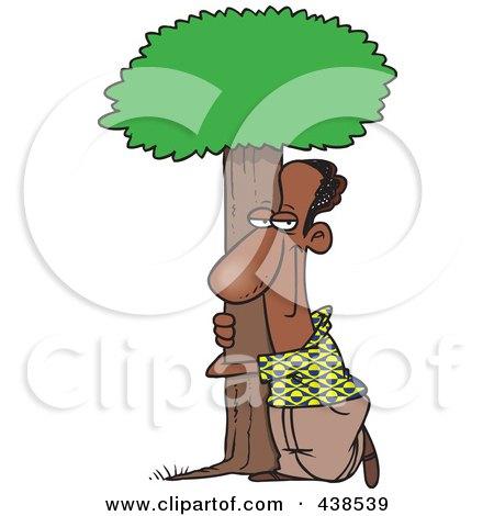 Cartoon Black Man Hugging A Tree Posters, Art Prints