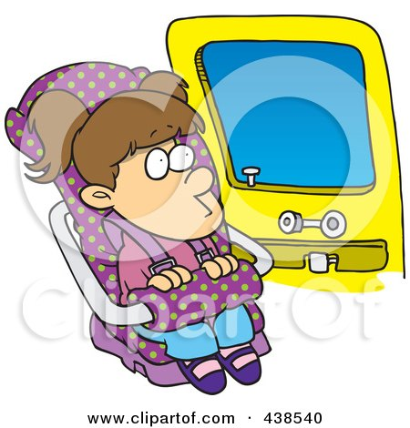Royalty-Free (RF) Clip Art Illustration of a Cartoon Girl Sitting In Her Car Seat by toonaday