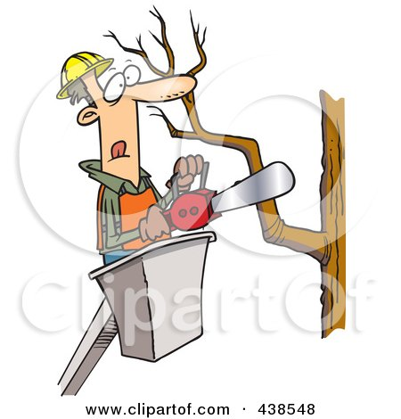 Cartoon Tree Trimmer Holding A Saw Posters, Art Prints