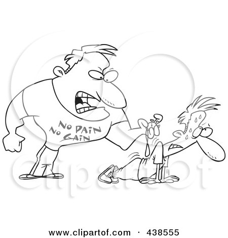 Royalty-Free (RF) Clip Art Illustration of a Cartoon Black And White Outline Design Of A Tough Trainer Making His Client Doing Pushups by toonaday