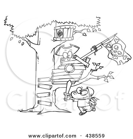 Treehouse clipart black and white