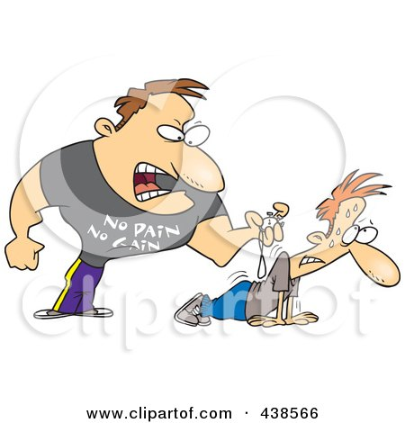 Royalty-Free (RF) Clip Art Illustration of a Cartoon Tough Trainer Making His Client Doing Pushups by toonaday