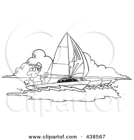 Royalty-Free (RF) Clip Art Illustration of a Cartoon Black And White Outline Design Of A Man Sailing A Trimaran by toonaday