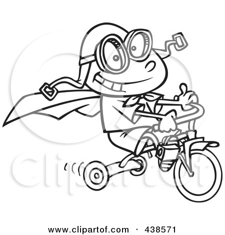 Royalty-Free (RF) Clip Art Illustration of a Cartoon Black And White Outline Design Of A Boy Wearing A Cape And Goggles While Riding His Trike by toonaday