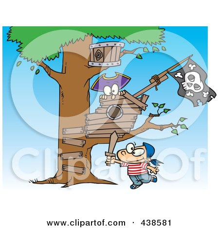 Royalty-Free (RF) Clip Art Illustration of a Cartoon Boy Playing Near His Pirate Tree House by toonaday