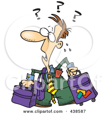 Royalty-Free (RF) Clip Art Illustration of a Confused Cartoon Businessman With Luggage by toonaday