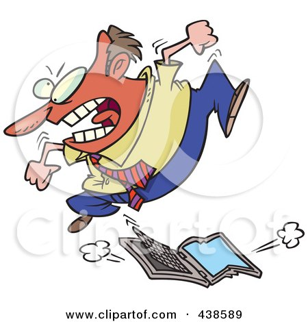 Royalty-Free (RF) Clip Art Illustration of a Frustrated Cartoon Businessman Trampling A Laptop Computer by toonaday