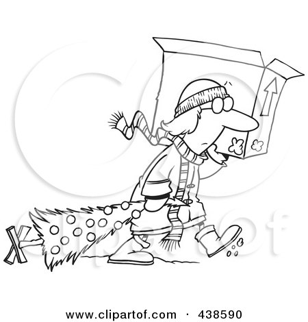 Royalty-Free (RF) Clip Art Illustration of a Cartoon Black And White Outline Design Of A Woman Carrying A Moving Box And Dragging Her Christmas Tree by toonaday