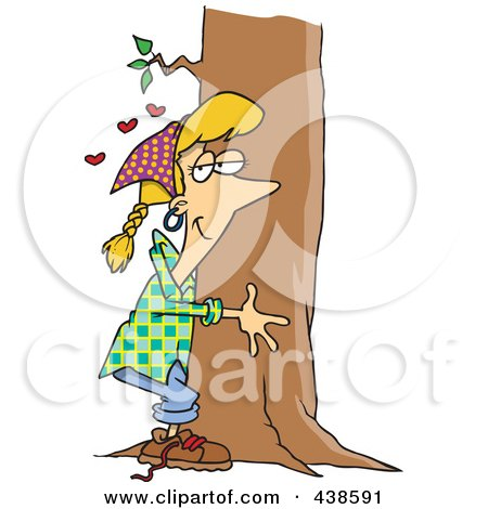 Royalty-Free (RF) Clip Art Illustration of a Cartoon Hippie Woman Hugging A Tree by toonaday