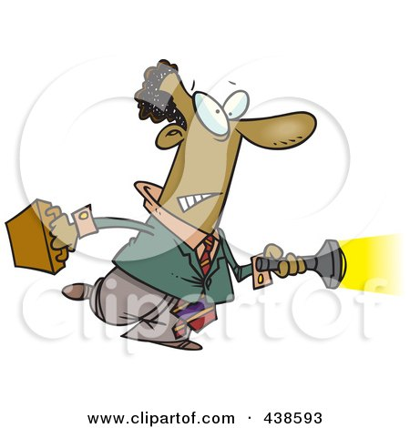 Royalty-Free (RF) Clip Art Illustration of a Cartoon Black Man Shining A Flashlight Ahead by toonaday