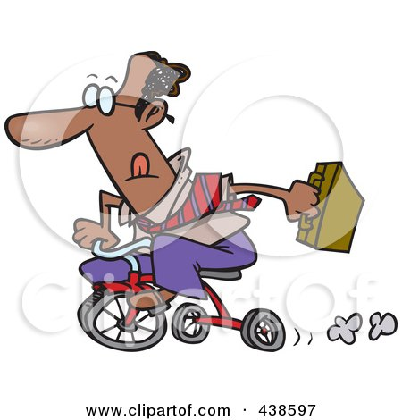 Royalty-Free (RF) Clip Art Illustration of a Cartoon Black Businessman Riding A Trike To Work by toonaday