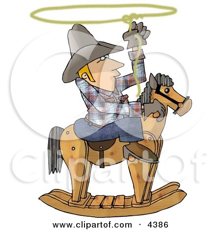Young Cowboy Practicing the Are of Lassoing On the Back of a Rocking Horse Clipart by djart