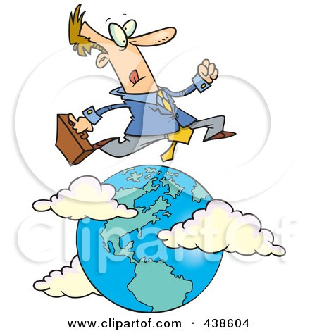 Royalty-Free (RF) Clip Art Illustration of a Cartoon Traveling Salesman Leaping Over The Globe by toonaday