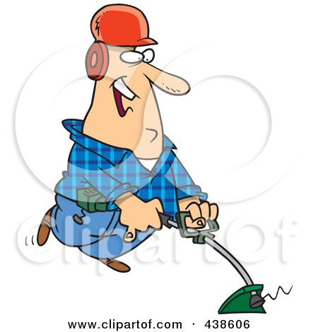 Royalty-Free (RF) Clip Art Illustration of a Happy Cartoon Landscaper Using A Weed Wacker by toonaday
