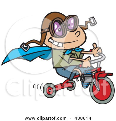 Royalty-Free (RF) Clip Art Illustration of a Cartoon Boy Wearing A Cape And Goggles While Riding His Trike by toonaday