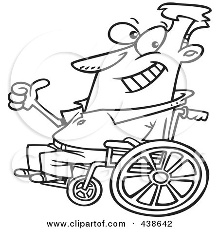 Royalty-Free (RF) Clip Art Illustration of a Cartoon Black And White Outline Design Of An Optimistic Man In A Wheelchair by toonaday