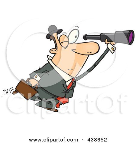 Royalty-Free (RF) Clip Art Illustration of a Cartoon Businessman Seeking An Opportunity With A Telescope by toonaday