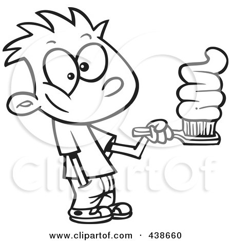 Royalty-Free (RF) Clip Art Illustration of a Cartoon Black And White Outline Design Of A Boy Going Overboard On Toothpaste by toonaday