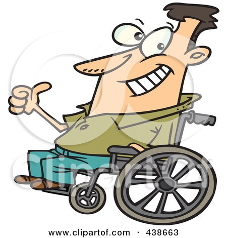 Royalty-Free (RF) Clip Art Illustration of a Cartoon Optimistic Man In A Wheelchair by toonaday