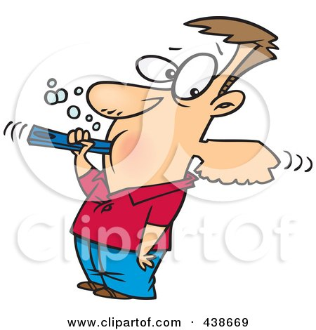 Royalty-Free (RF) Clip Art Illustration of a Cartoon Man Over Aggressively Brushing His Teeth by toonaday